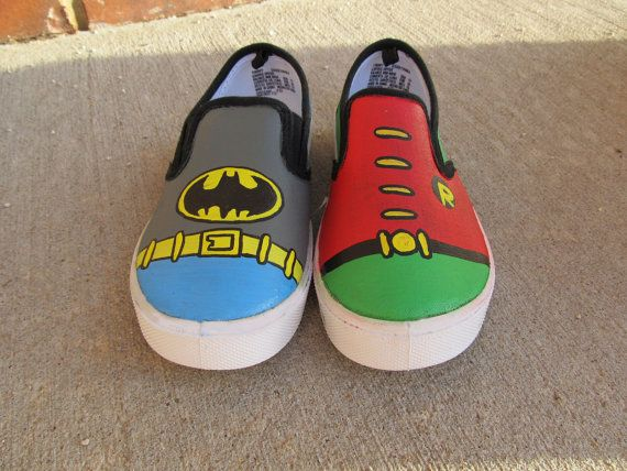ab6cfa875e Hand Painted Batman and Robin Slip-on Canvas Shoes