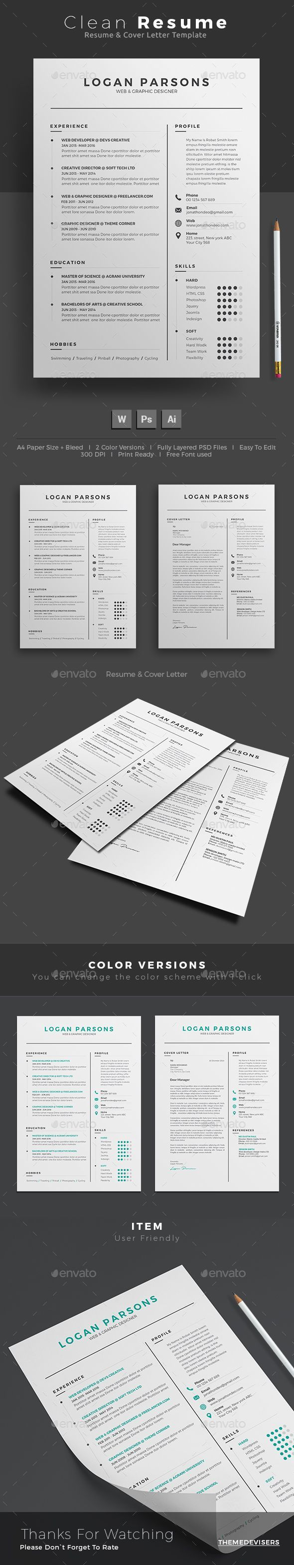 Resume Template PSD, AI Illustrator, MS Word. Download here: https ...