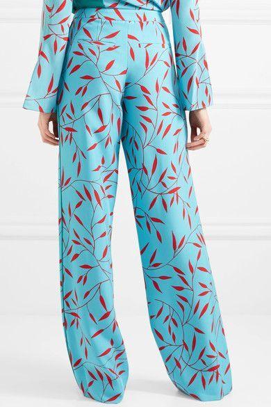 Printed Silk Crepe De Chine Wide-leg Pants - Teal Diane Von Fürstenberg Gd78R89GE