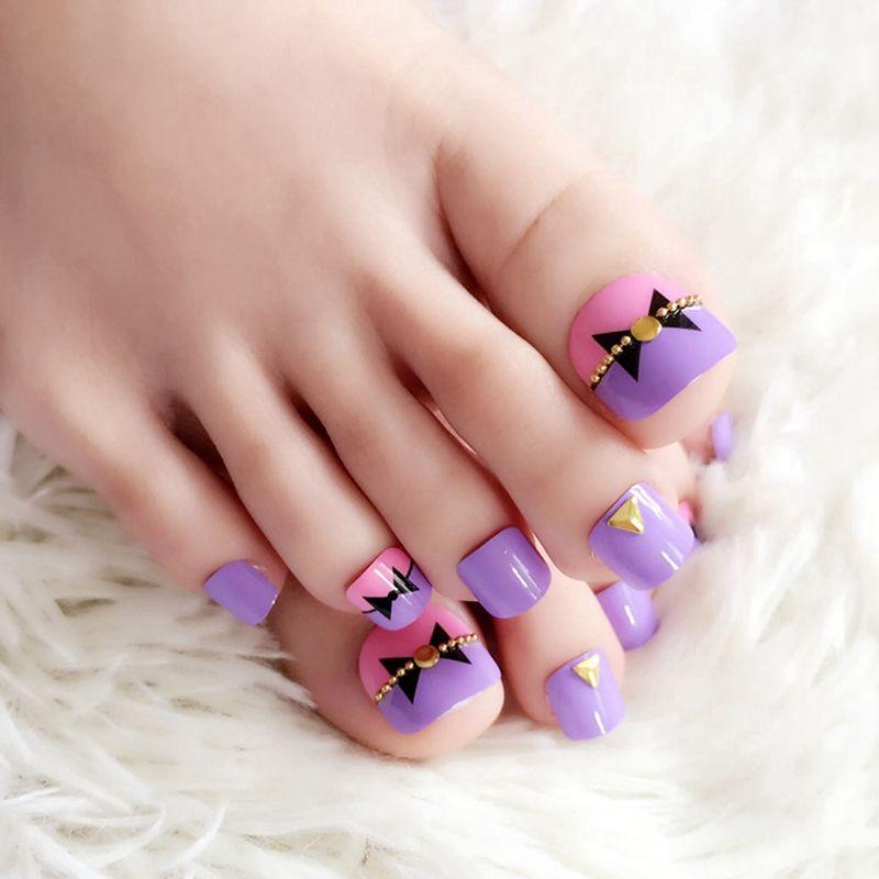 Hot Sale Summer Toenails 24pcs Bright Light Purple Pink Fake Toe ...