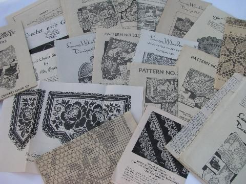 lot of 1940s - 50s vintage needlework pattern leaflets, crochet lace