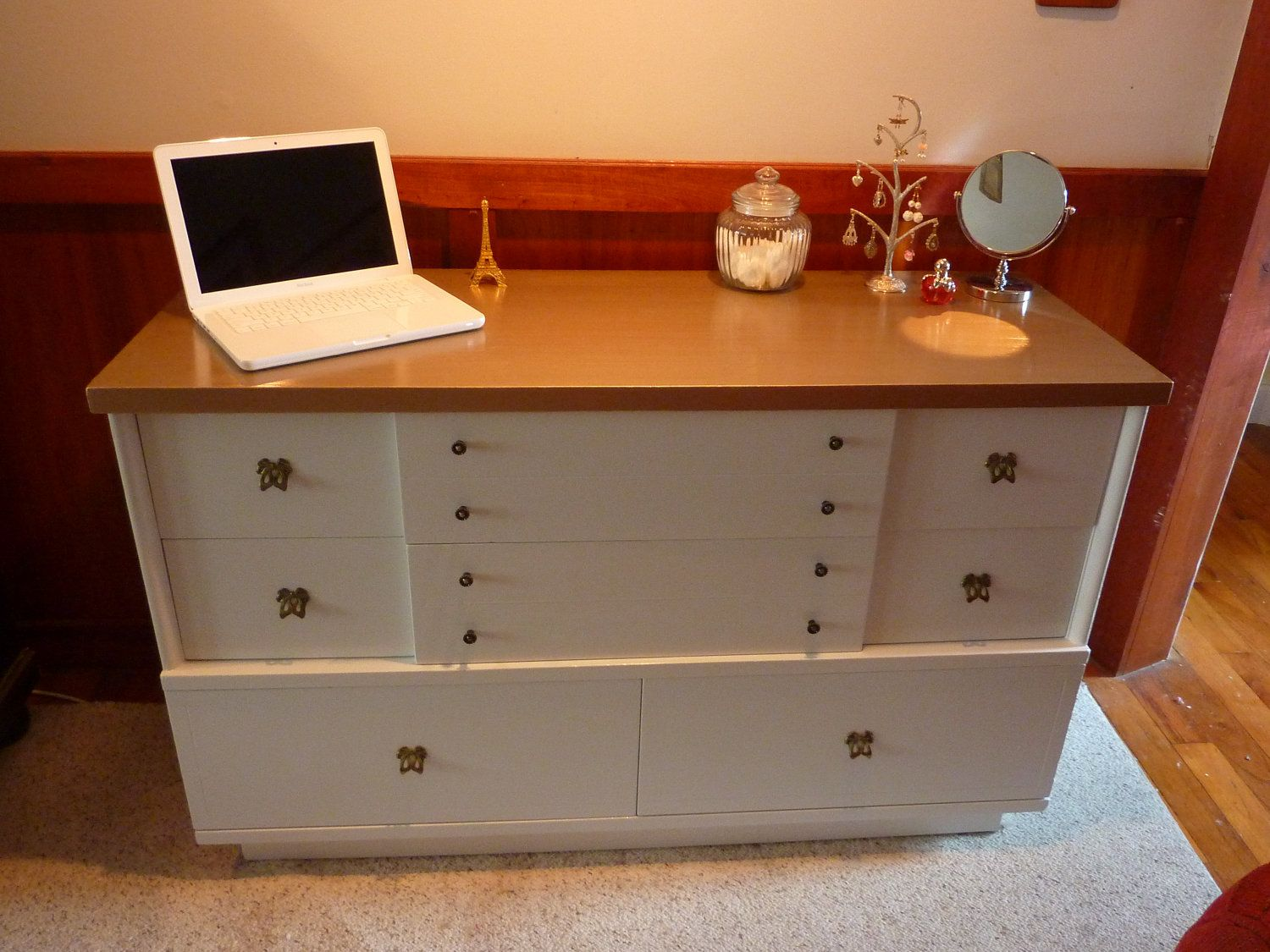 White And Gold 50s Dresser Mainline By Hooker