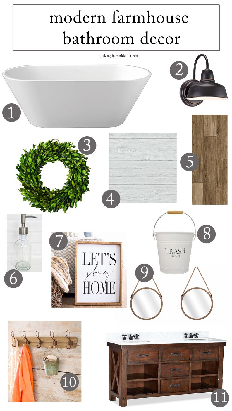modern farmhouse bathroom decor. freestanding tub, boxwood wreath