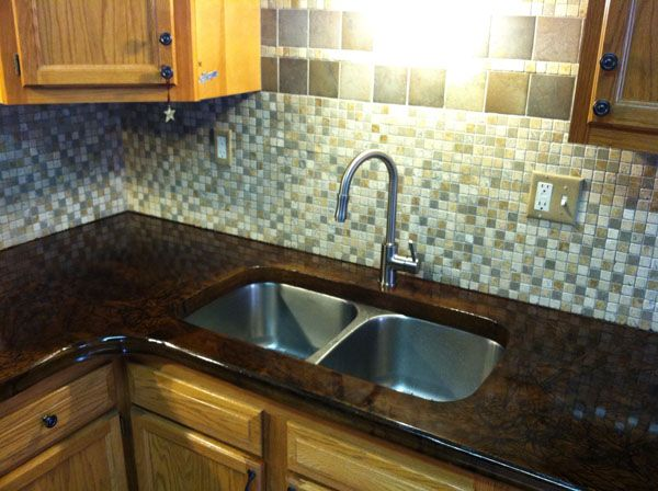 Polished Concrete Countertop Around Existing Sunken Stainless Steel Sink
