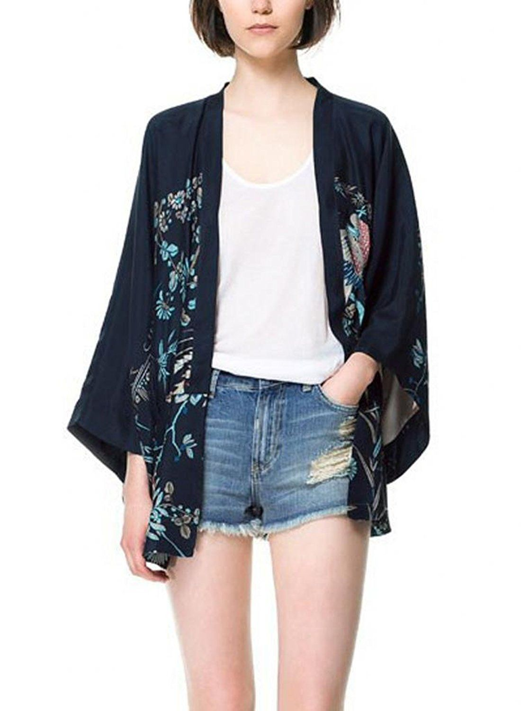 Vobaga Women's Vintage Back Phoenix Loose Kimono Sleeve Coat ...