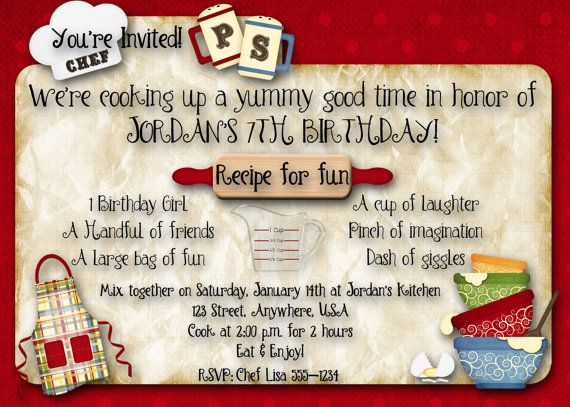 Cooking Baking Birthday Party Invitation – Cooking Birthday Party Invitations