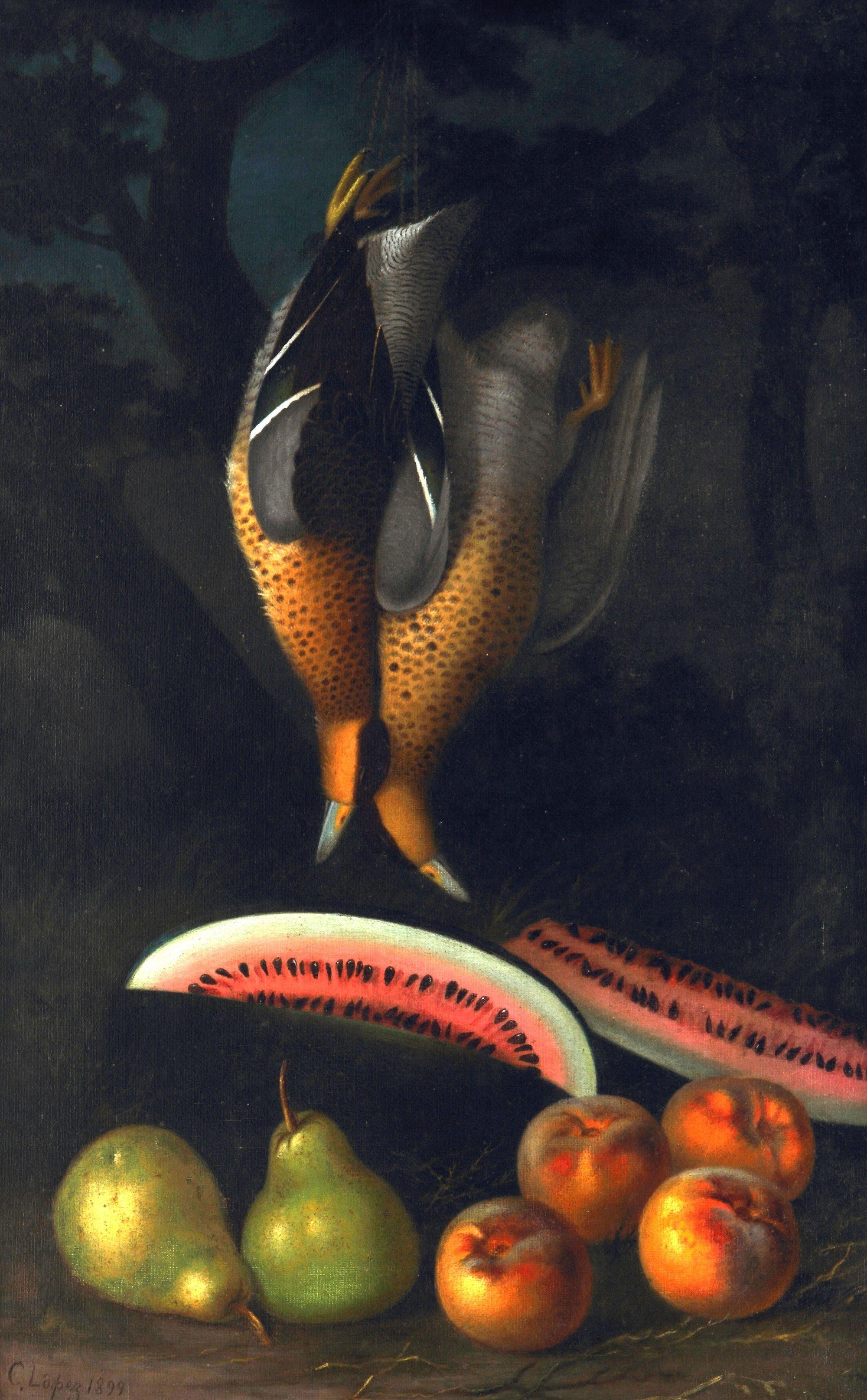 """1899 Candido Lopez:  """"Naturaleza muerta"""". Oleo sobre tela, 79,7 x 50,2 cm. MNBA"""
