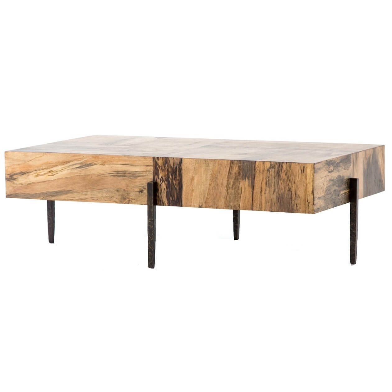 Inkas Spalted Primavera Wood Block Coffee Table 52 Coffee Table Iron Coffee Table Round Wood Coffee Table