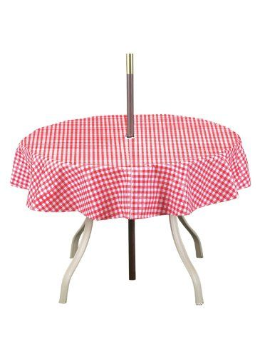 Checkered Umbrella Tablecloth Round 70 Round Color Red Carol