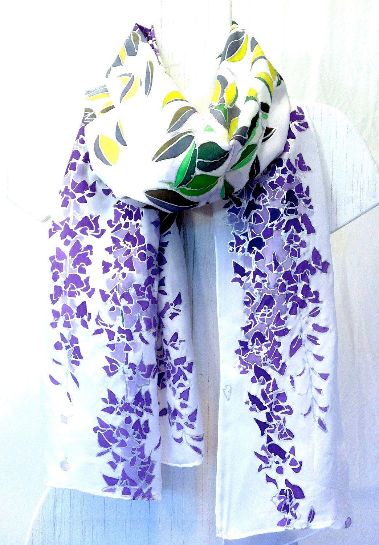 Hand Painted Silk Shawl. Lavender Purple Wisteria Floral Silk Wrap. Purple Silk Shawl. Wedding Shawl. Floral. Silk. Bridal Shawl. 22x72.. $162.00, via Etsy.