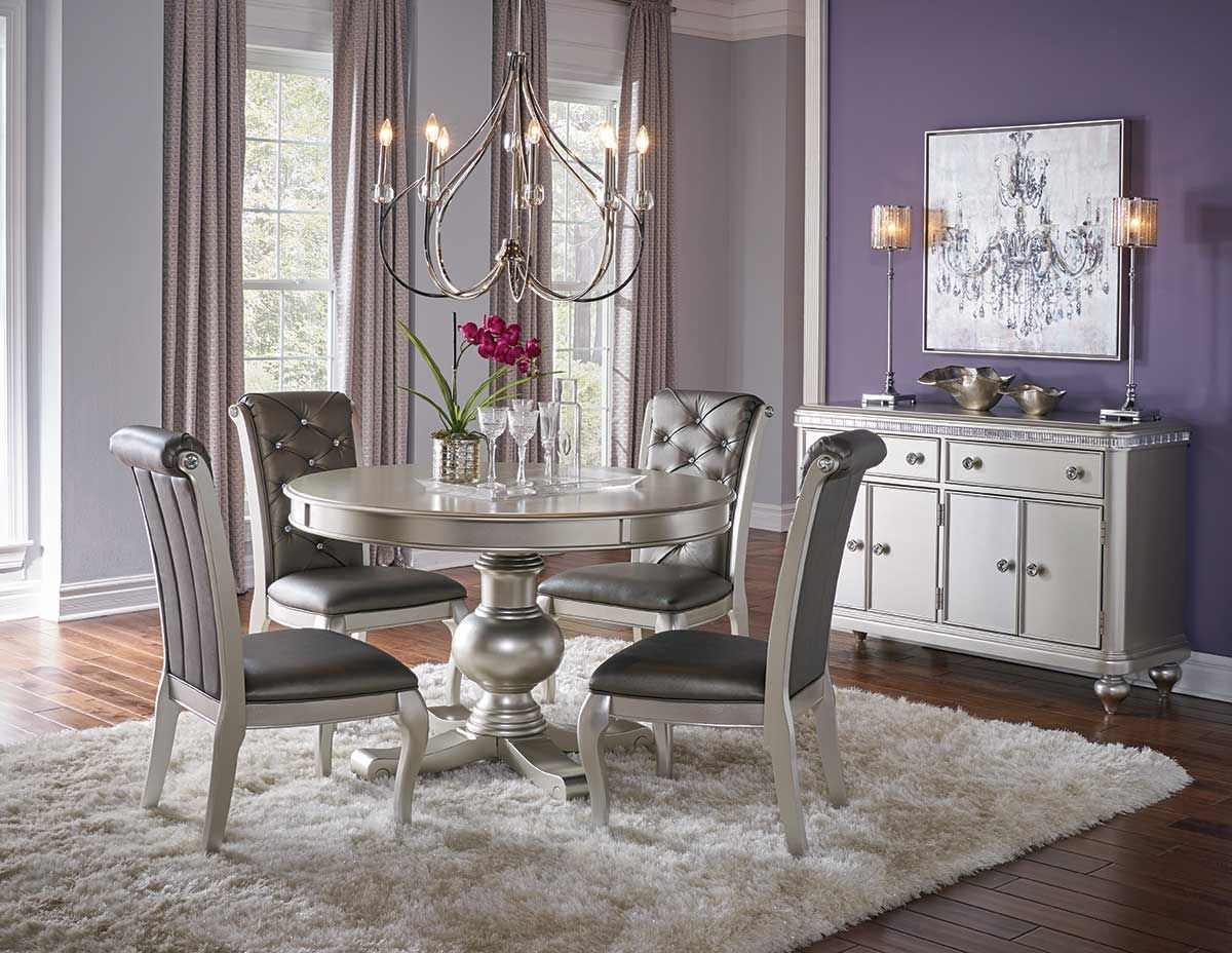 Hefner Silver Round Dining Table Round Dining Room Interior Design Dining Room Dining Room Decor