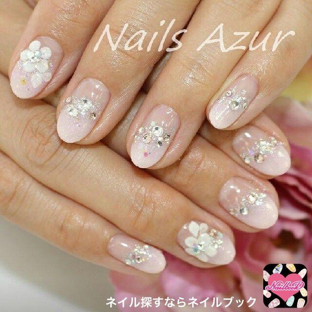 ネイル 画像 Nails Azur 新潟 1169195 ピンク グラデーション 3D ラメ ホログラム ブライダル ソフトジェル ハンド ミディアム
