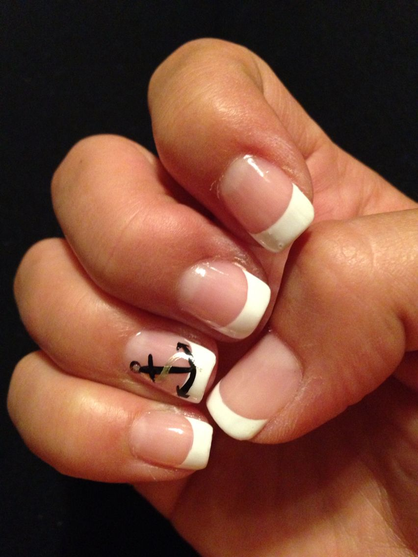 french tip w anchor gel nail designs pinterest makeup hair makeup and nail nail. Black Bedroom Furniture Sets. Home Design Ideas
