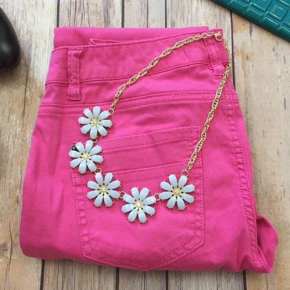 """⚡️FLASH SALE!⚡️Flower Statement Necklace You will definitely have a 'Spring' in your step wearing this beauty. Silky blue and gold flower bib statement necklace. Approximately 18"""" long. Lobster claw clasp with a 3"""" extender. (Pink skinnies also available). Let's get this perfect necklace home to you today! Shop the Moon Jewelry Necklaces"""