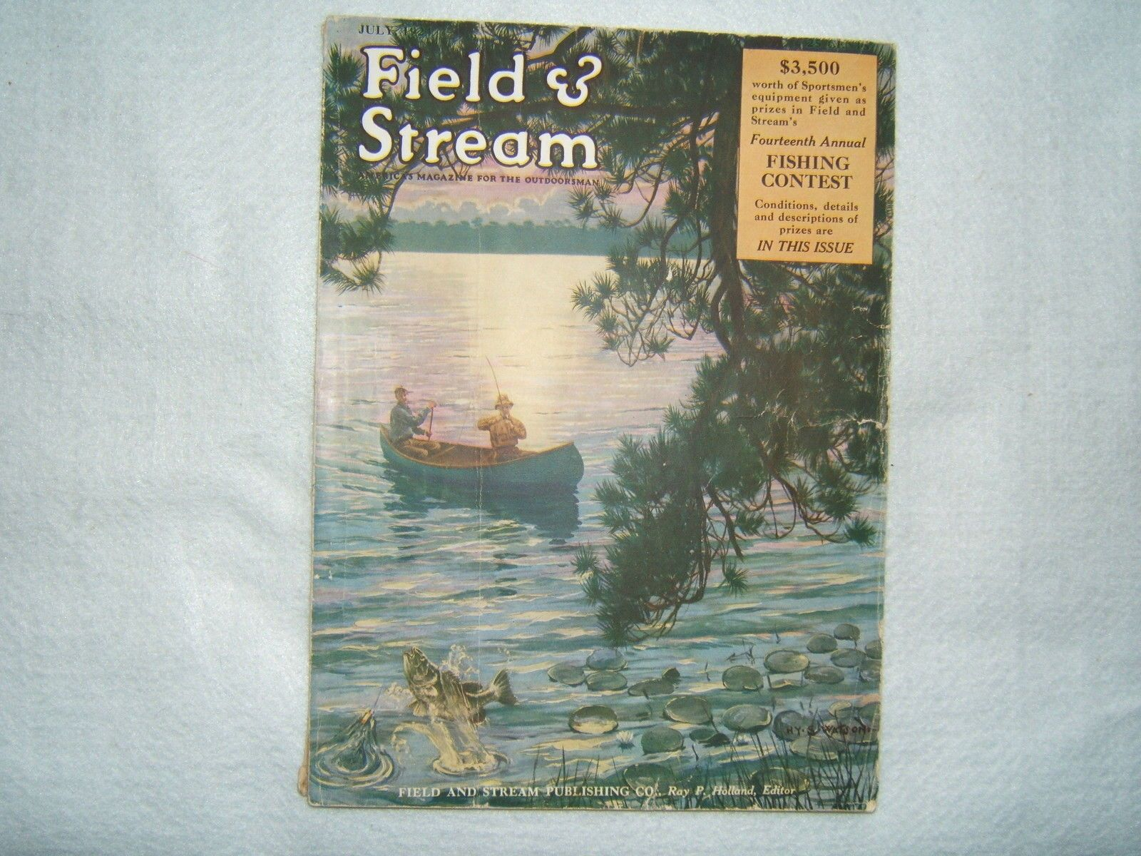 Vintage Magazine Field Stream July Bass Fishing In