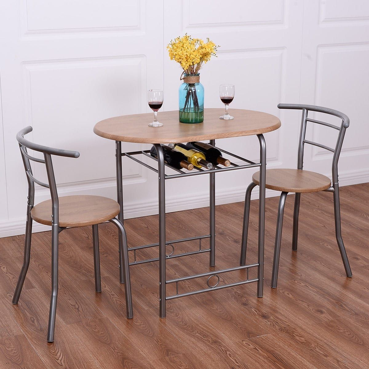 Costway 3 PCS Bistro Dining Set Table and 2 Chairs Kitchen Pub Home ...