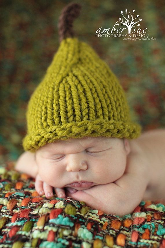 Knit Newborn Baby Boy Pear Hat Photo Prop by OopsIKnitItAgain ... 21948eaed78
