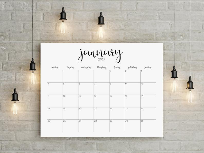 Large Wall Calendar 2022.2021 Printable Calendar 2021 Big Wall Calendar 2021 Large Etsy In 2021 Large Wall Calendar Printable Calendar Wall Calendar