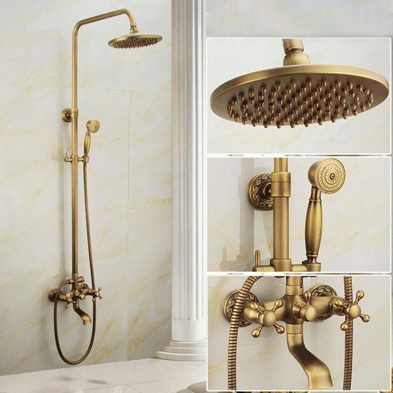 Shop For Antique Brushed Finish Brass Bathroom Shower Faucet With Handheld Shower Carved Base 3 Hole 3 H Brass Bathroom Bathroom Shower Bathroom Shower Faucets