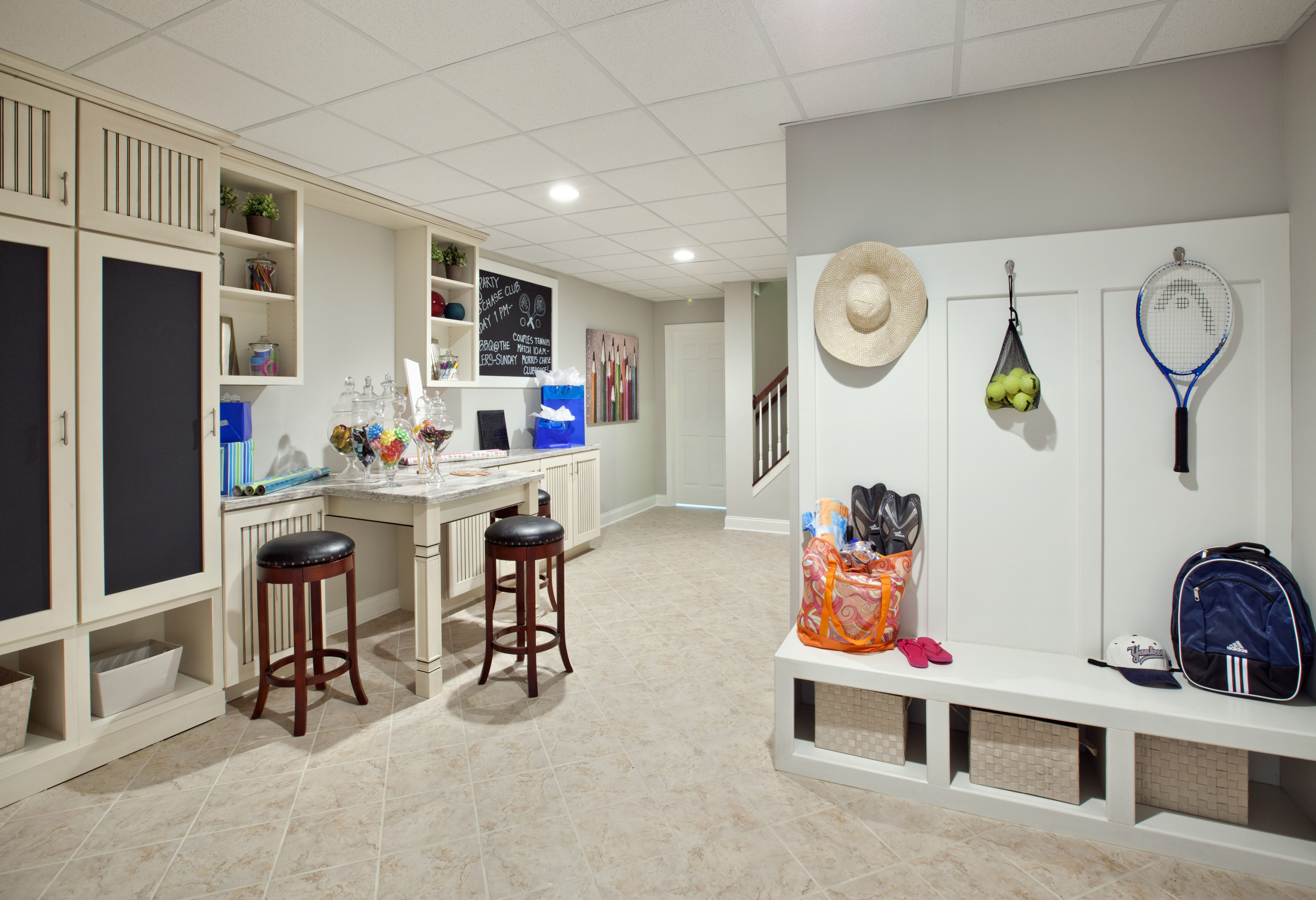 Turn your basement into an arts and crafts station or an area for your tennis gear. (Toll Brother at Morris Chase, NJ)