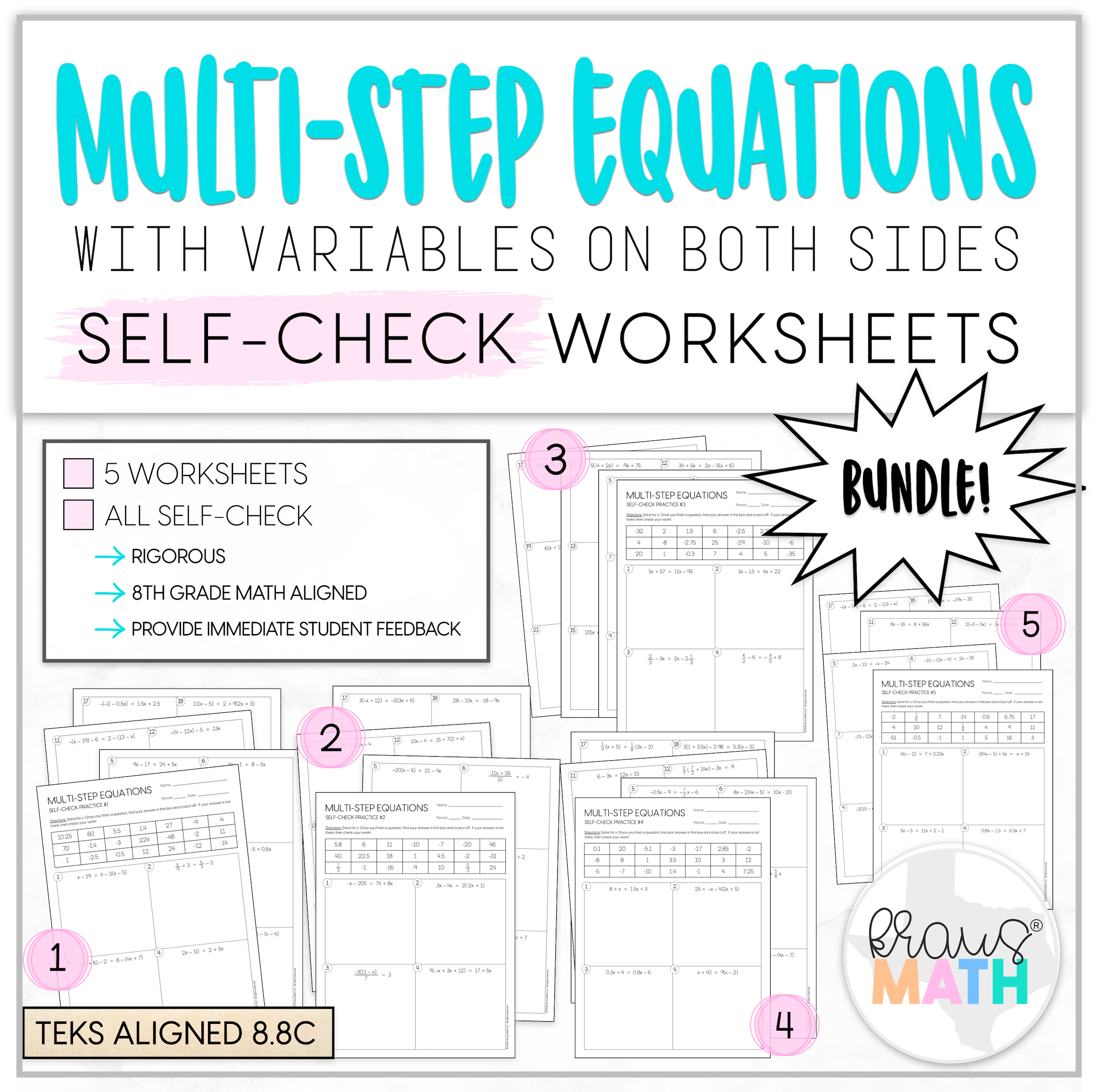 Multi Step Equations Self Check Worksheet Bundle 8 8c