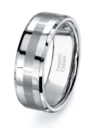 tungsten ring mens wedding band high quality tungsten carbide polished with grooved brushed center on - Mens Platinum Wedding Rings