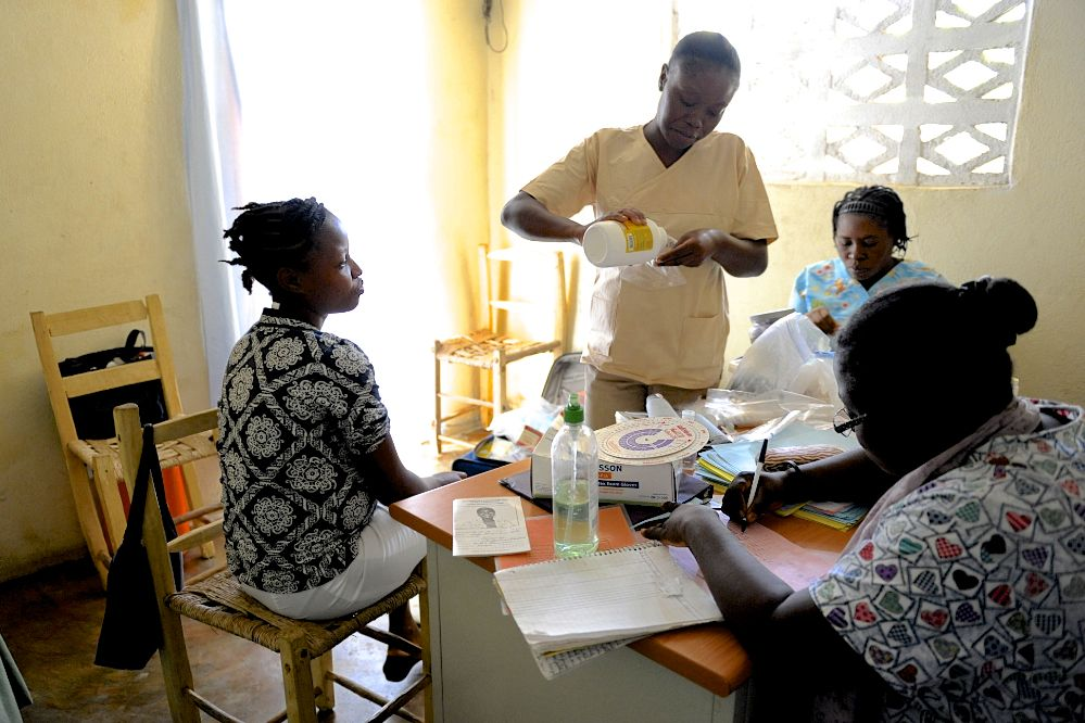 Some of our mobile clinic midwives preparing meds and