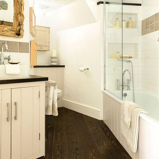 pretty cream bathroom with quirky layout  bedroom
