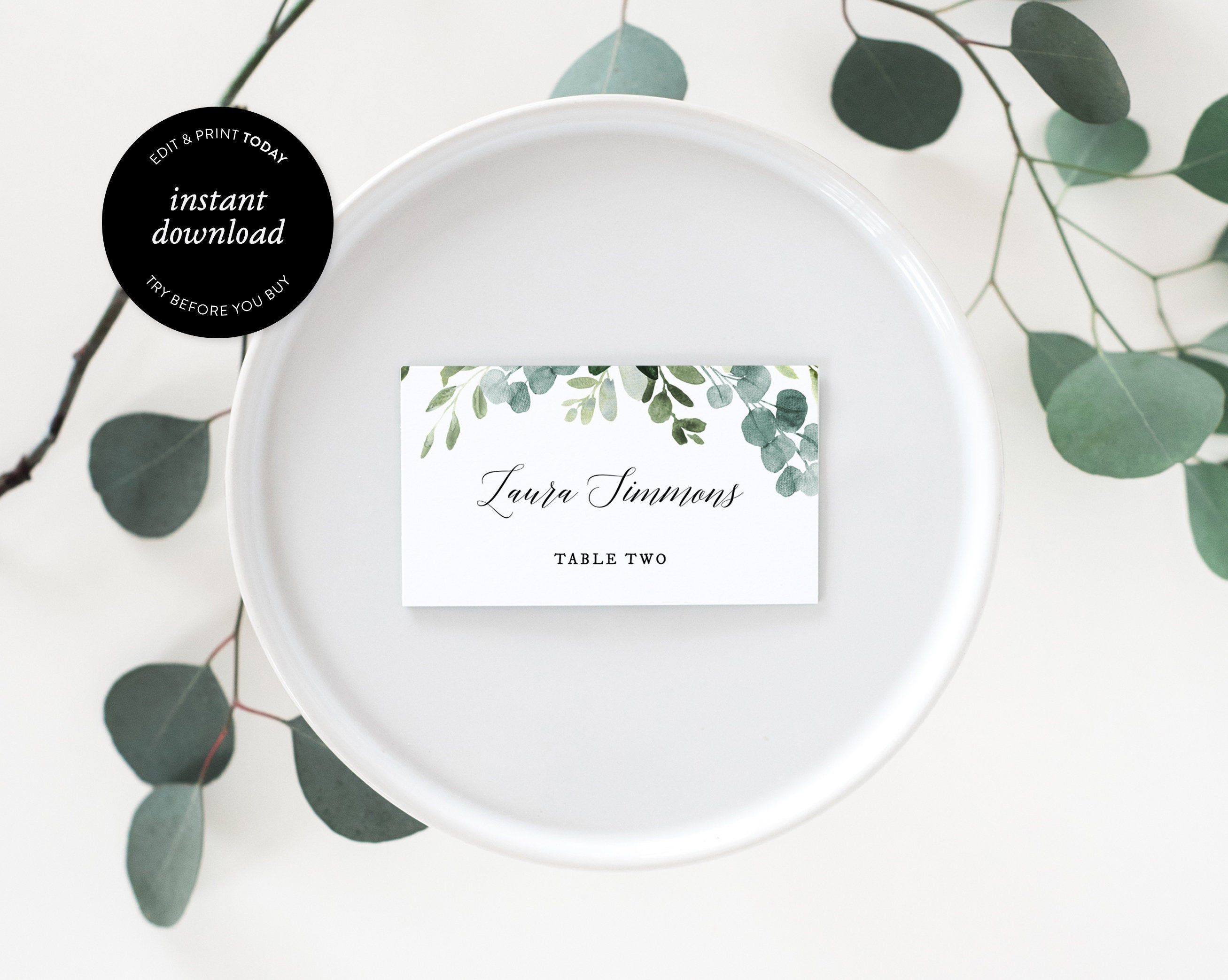 Greenery Place Cards Template Wedding Place Cards Printable Name Cards Flat And Tent Folded 100 Editable Instant Download