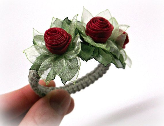 Red rose napkin rings floral table decor fabric flower arrangement red rose napkin rings set for wedding table by homelikelinen mightylinksfo