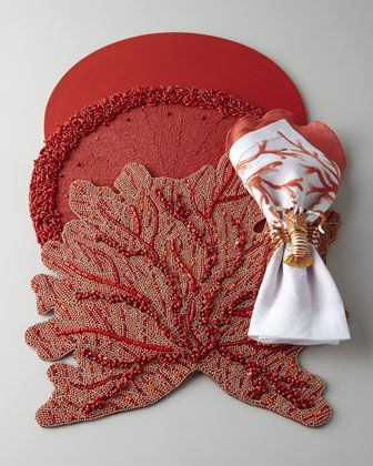 """Coral Branch"" Place Mats and Napkins & ""Lobster Napkin Rings by Kim Seybert at Neiman Marcus."