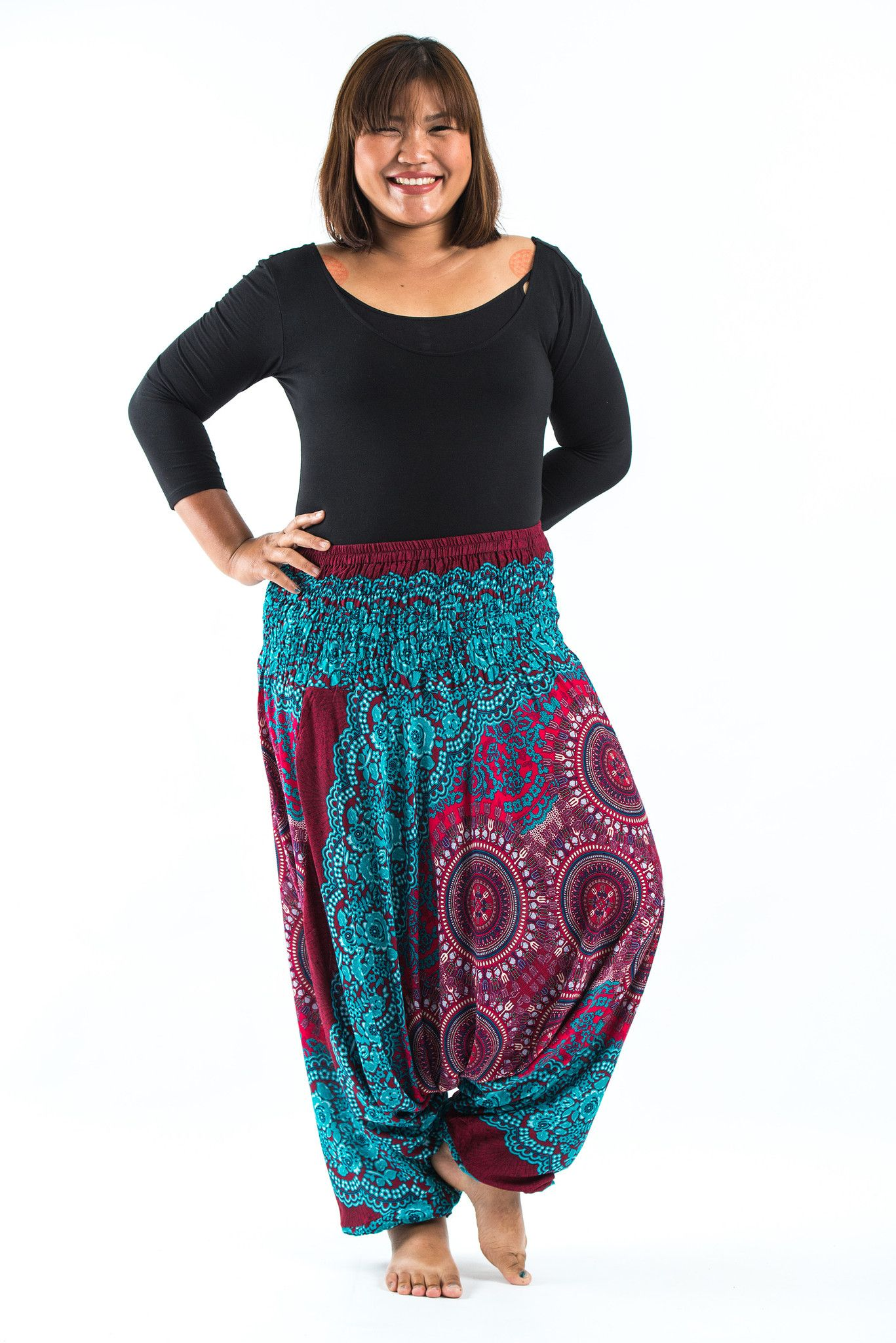 1742fa059bbc1 Plus Size Trishula Mandalas Drop Crotch Women s Harem Pants in Red ...