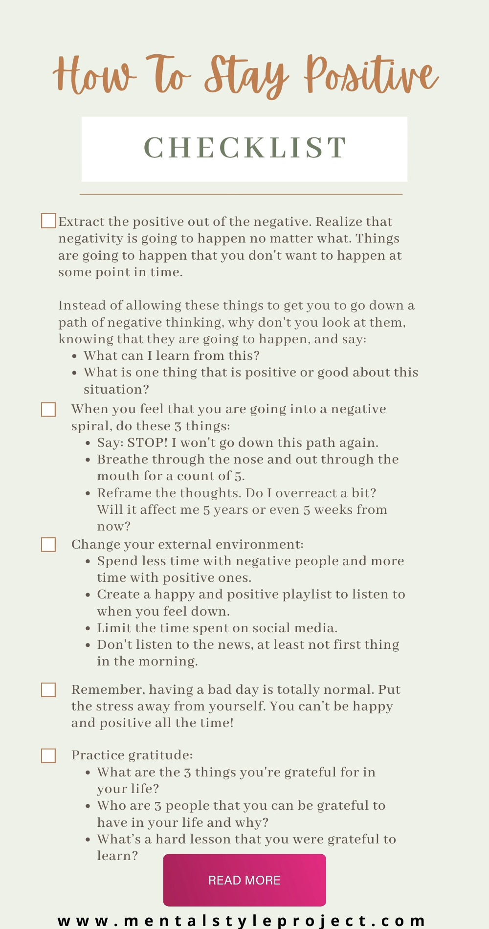 How To Stay Positive - FREE Checklist PDF