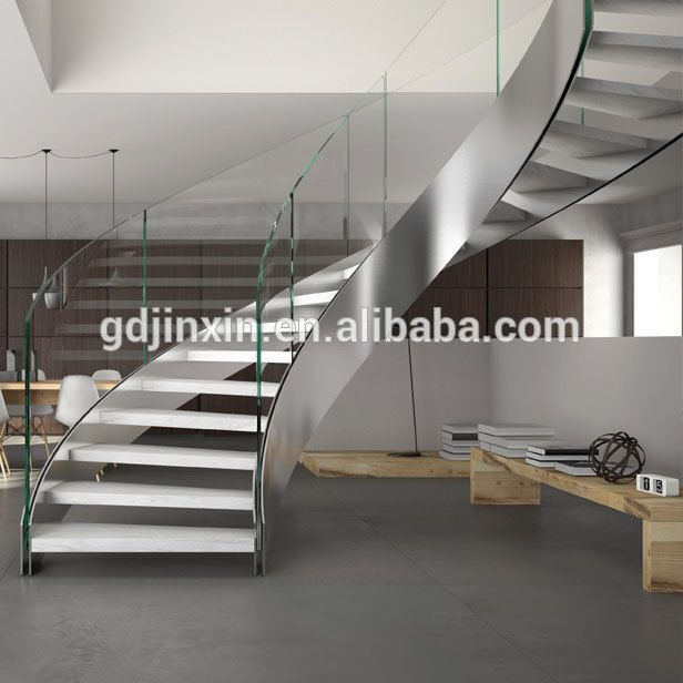 Best New Design Frameless Tempered Glass Spiral Staircase 400 x 300