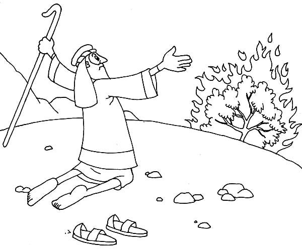 Moses Take His Sandal Off When He Saw Burning Bush Coloring Pages Coloring Pages Cross Coloring Page Cool Coloring Pages