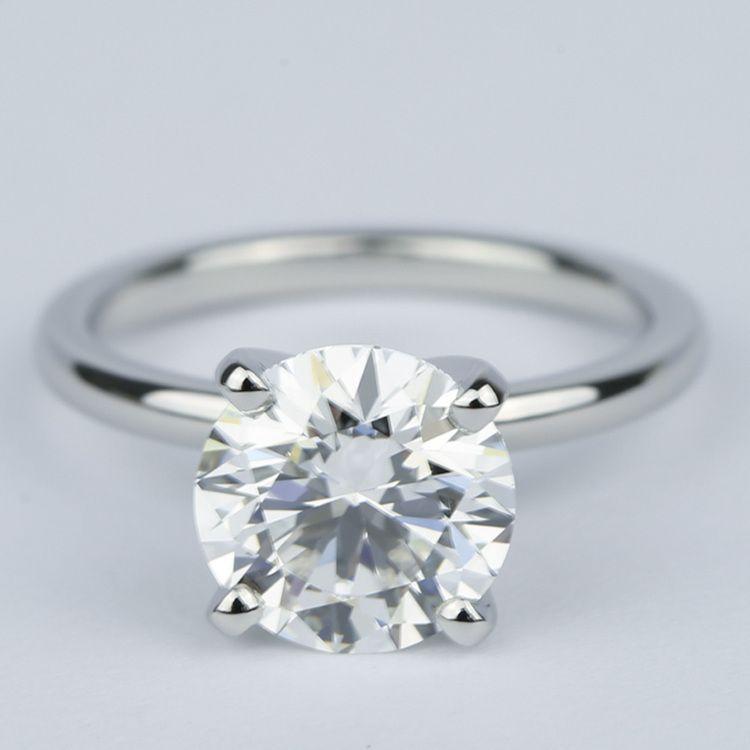 2 carat round diamond solitaire ring in platinum round
