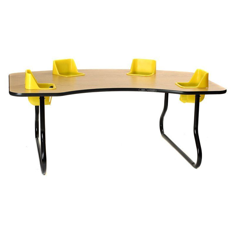 4 Seat Toddler Activity Table Yellow Yellow Seat - 4-SEATTABLE-YELLOW-YELLOWSEAT-14 IN.
