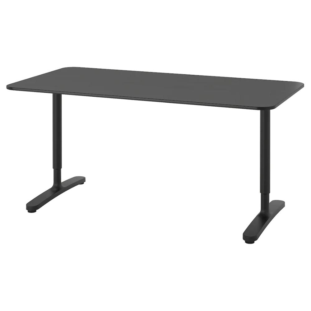 Bekant Desk Black Stained Ash Veneer Black Ikea In 2020 Ikea Bekant Ikea Black Desk