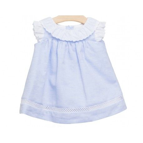 faca03918faa Vestido azul con tira bordada de la Marca Fina Ejerique en Vestidos para  Bebé. No te podrás resistir a nuestra colección de ropa para bebé