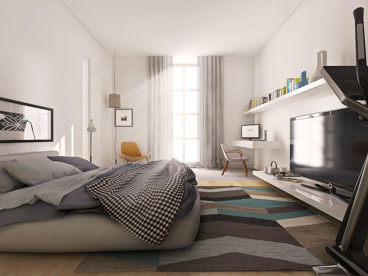 Molto progetto di ristrutturazione, camera da letto con angolo studio  PC87