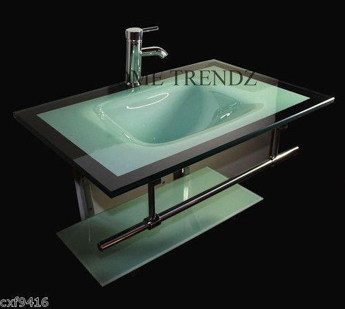 Modern Bathroom Vanities Tempered Glass Design Vessel Sink bathroom vanity furniture aqua green tempered glass bowl vessel