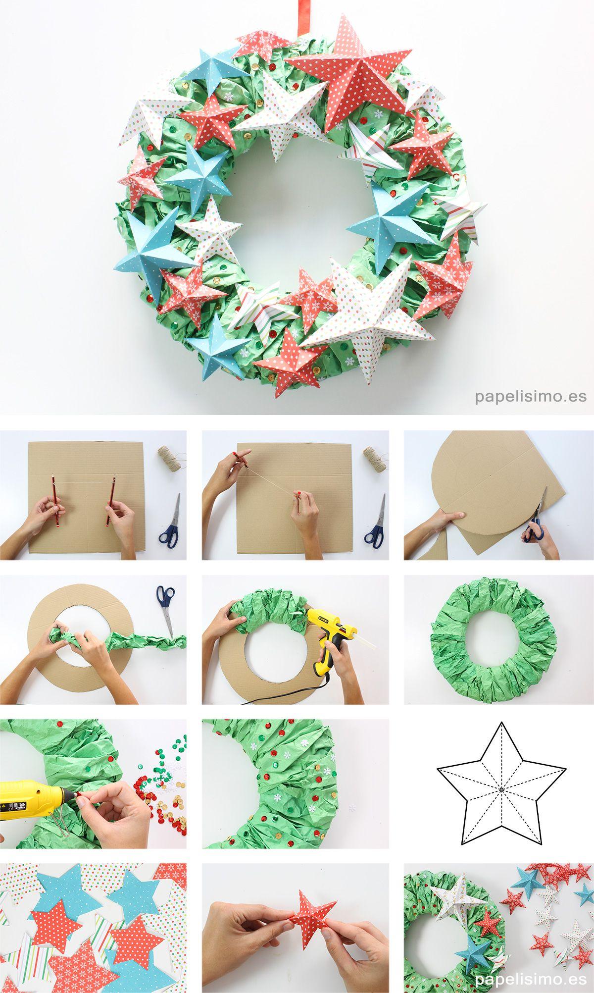 Corona de navidad adviento paso a paso diy paper christmas for Adornos navidenos origami paso a paso