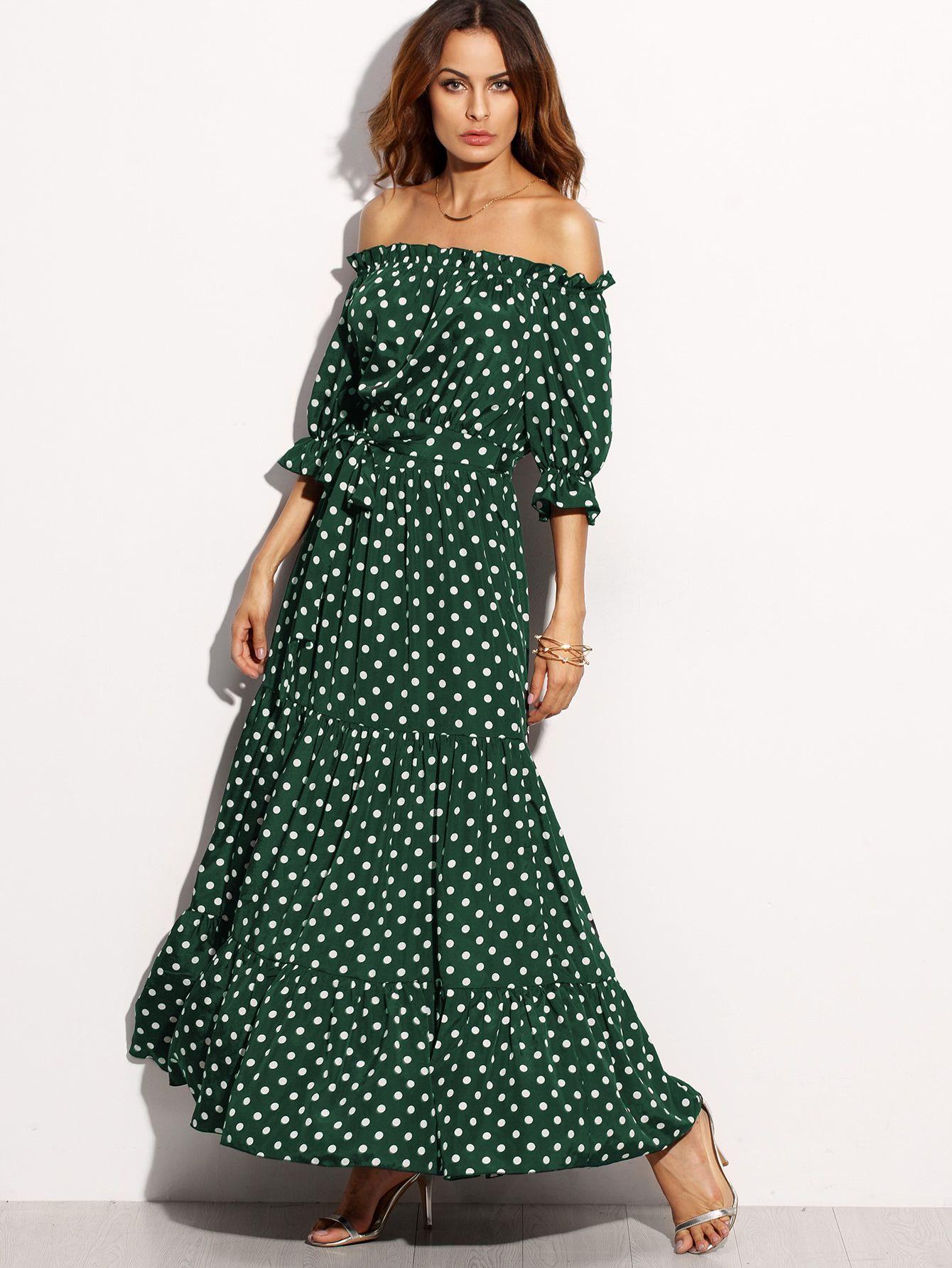 Polka Dot Bardot Neckline Tie Waist Dress