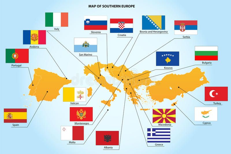 Flags And Map Of Southern Europe Countries A Set Flags And Map Of 19 Southern E Ad Europe Countries Southern Flags Map Ad Mapa