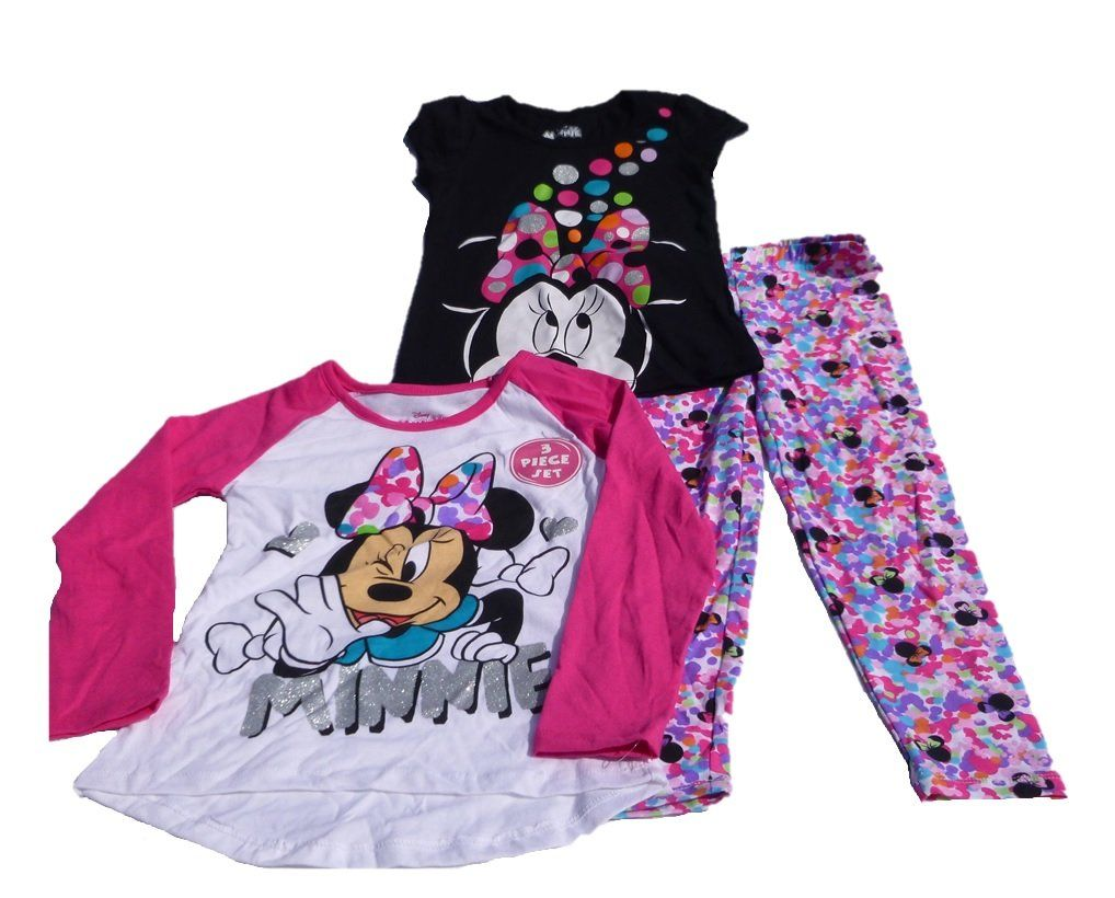 Disney Minnie Mouse Girls Short-Sleeve Top and Leggings Set