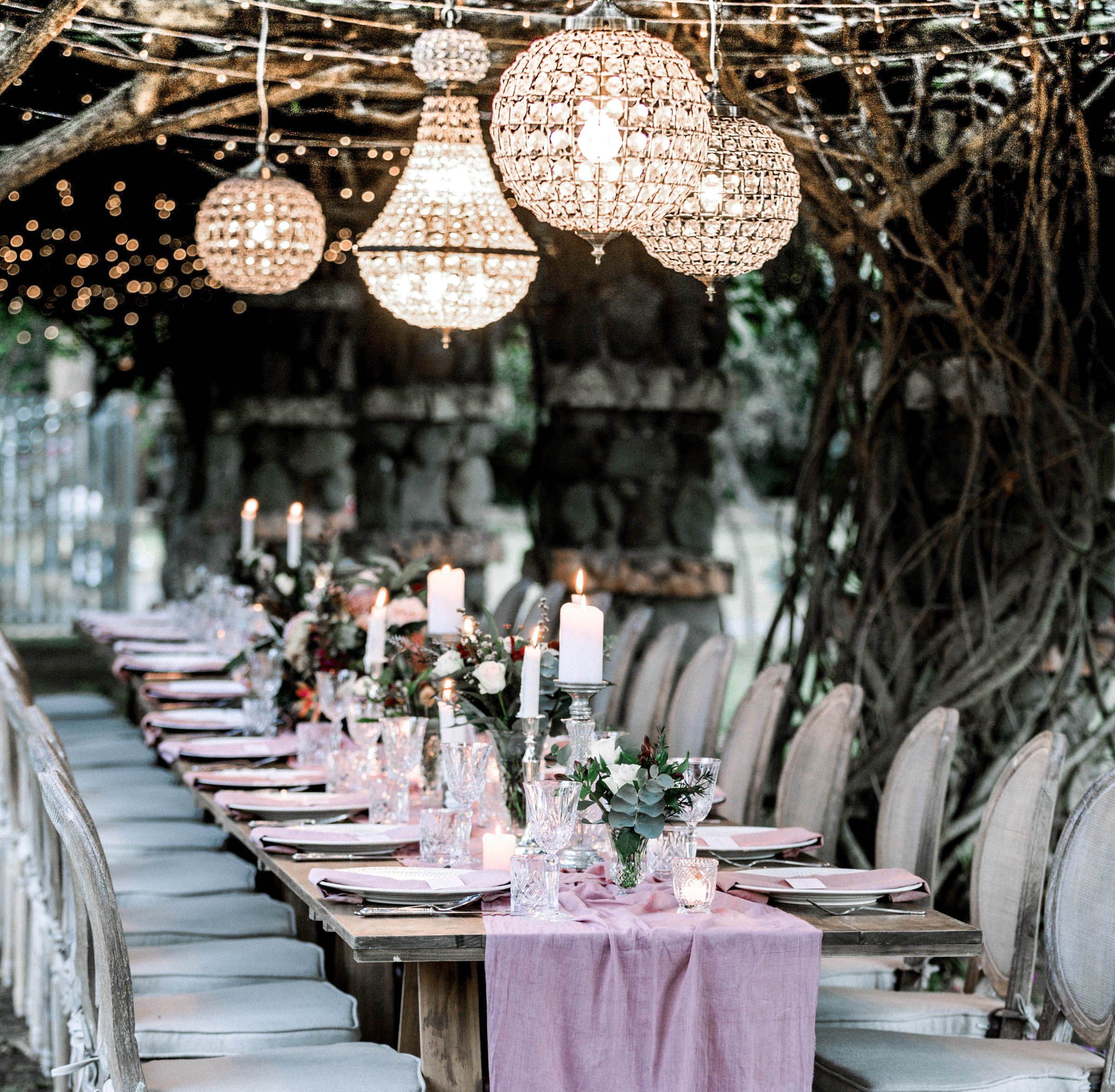 Stunning Chandeliers Suspended Over Wedding Tables Wedding Furniture Wedding Table Centerpieces Wedding Table Decorations