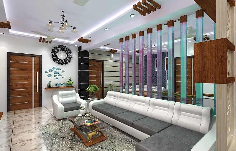 Beautiful Living Room Designed For 3 Bhk Flat In Kolkata Modern