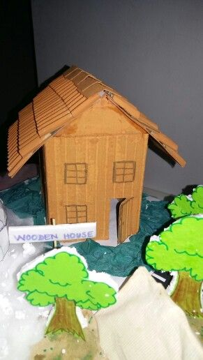 Model Of A Wooden House Using Cardboard Box For School