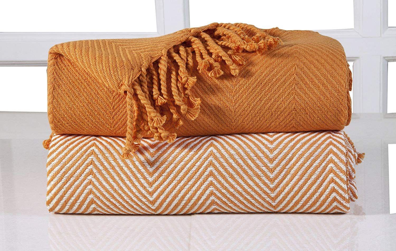 EHC Luxury Chevron Cotton Single Sofa Throw Blanket