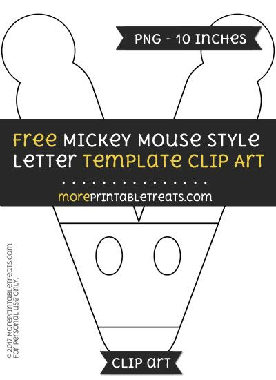 Letter V Template | Free Mickey Mouse Style Letter V Template Clipart Mickey Mouse